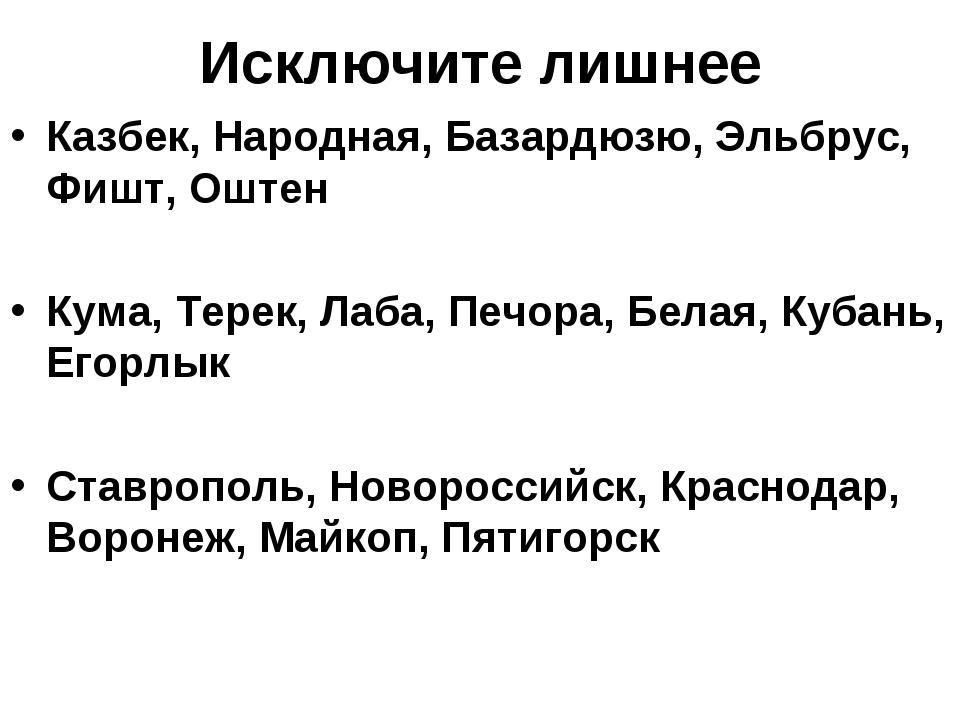 Исключите лишнее Казбек, Народная, Базардюзю, Эльбрус, Фишт, Оштен Кума, Тере...