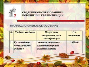 СВЕДЕНИЯ ОБ ОБРАЗОВАНИИ И ПОВЫШЕНИИ КВАЛИФИКАЦИИ ПРОФЕССИОНАЛЬНОЕ ОБРАЗОВАНИЕ