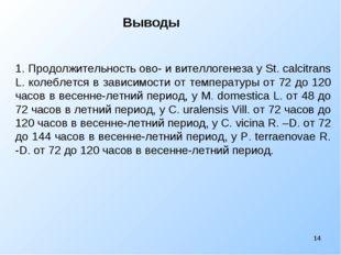 Выводы * 1. Продолжительность ово- и вителлогенеза у St. calcitrans L. кол
