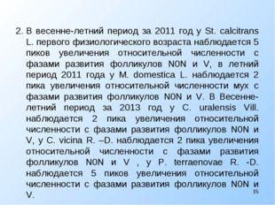 2.В весенне-летний период за 2011 год у St. calcitrans L. первого физиологич