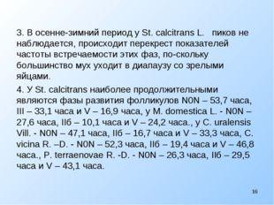 3. В осенне-зимний период у St. calcitrans L. пиков не наблюдается, происходи