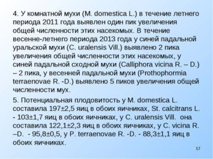 4. У комнатной мухи (M. domestica L.) в течение летнего периода 2011 года выя