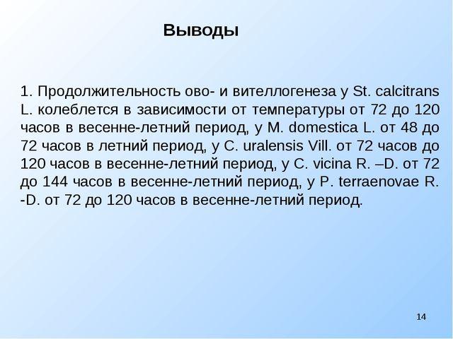 Выводы * 1. Продолжительность ово- и вителлогенеза у St. calcitrans L. кол...