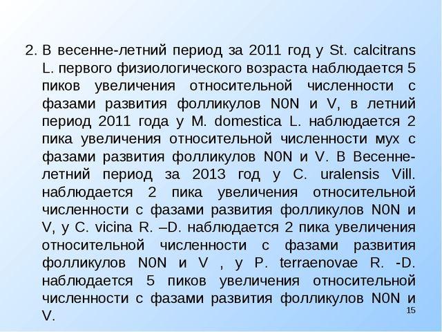 2.В весенне-летний период за 2011 год у St. calcitrans L. первого физиологич...