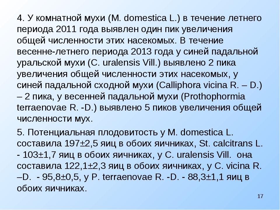 4. У комнатной мухи (M. domestica L.) в течение летнего периода 2011 года выя...