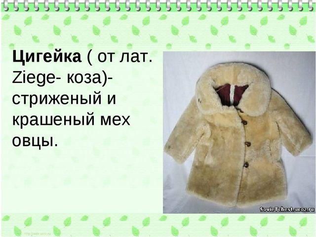 Цигейка ( от лат. Ziege- коза)- стриженый и крашеный мех овцы.