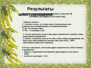 Результаты анкетирования Всего в анкетировании приняло участие 28 человек (у