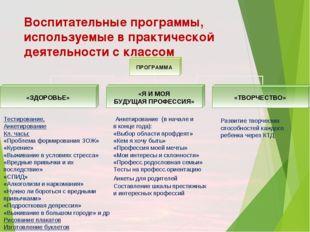 Воспитательные программы, используемые в практической деятельности с классом
