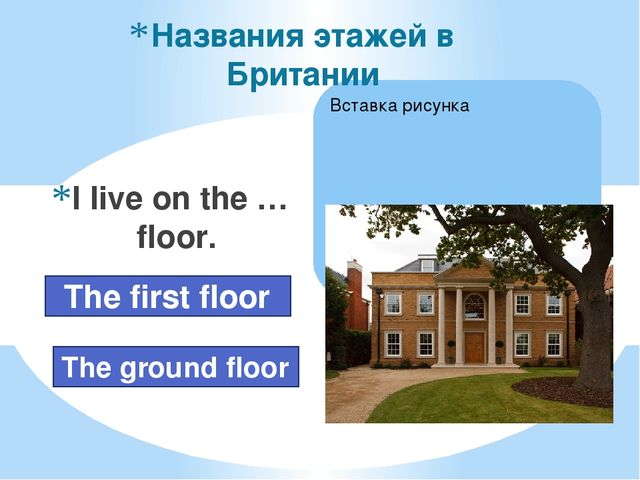 I live on the … floor. Названия этажей в Британии The ground floor The first...