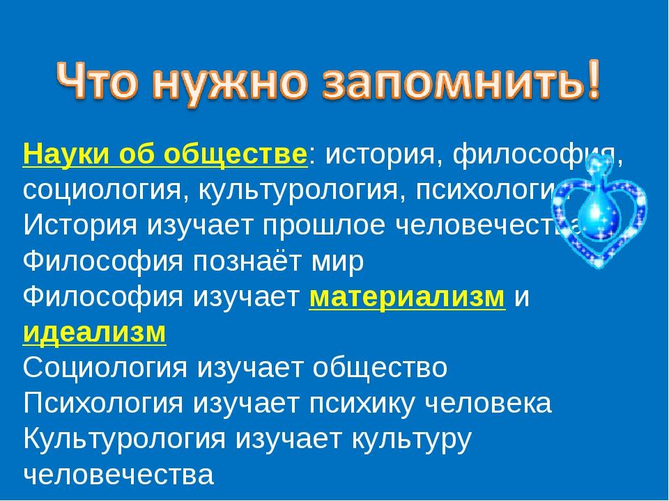 Науки об обществе: история, философия, социология, культурология, психология...