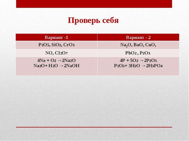 Проверь себя Вариант -1Вариант - 2 Р2О5, SiО2, СrО3Nа2О, ВаО, СuО, NО, СI2О...