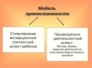 Модель преемственности Стимулирующе- мотивационный (личностный аспект ребёнка