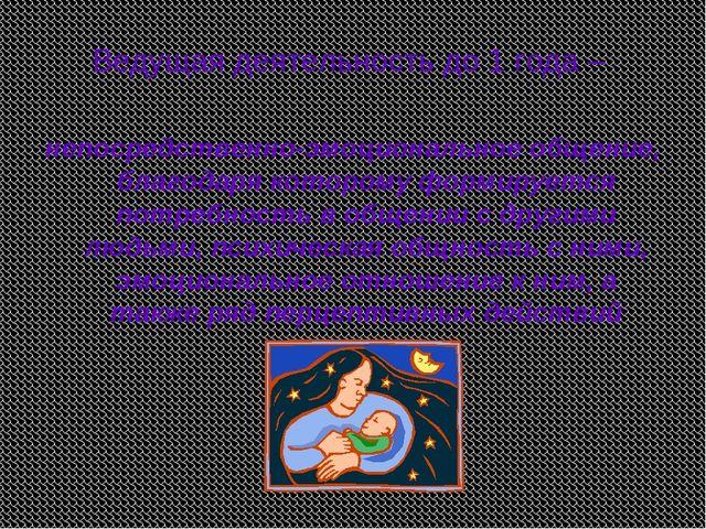 Ведущая деятельность до 1 года – непосредственно-эмоциональное общение, благо...
