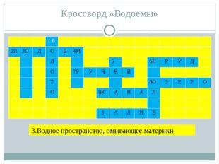 Кроссворд «Водоемы» 3.Водное пространство, омывающее материки. 1Б 2В 3О Д О Ё