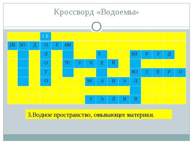 Кроссворд «Водоемы» 3.Водное пространство, омывающее материки. 1Б 2В 3О Д О Ё...