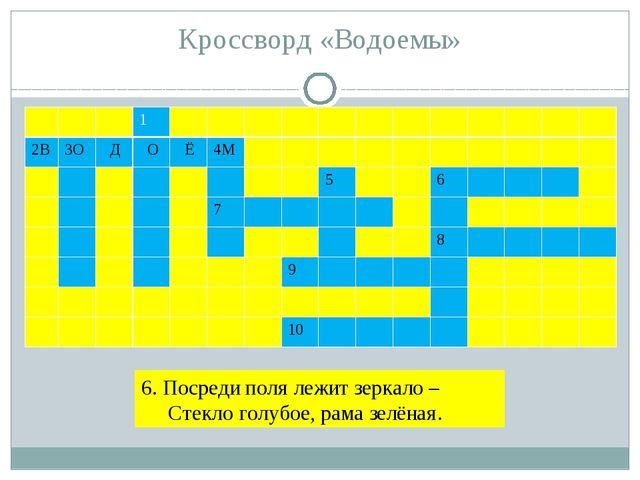 Кроссворд «Водоемы» 6. Посреди поля лежит зеркало – Стекло голубое, рама зелё...