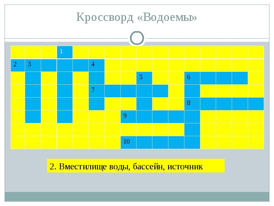 Кроссворд «Водоемы» 2. Вместилище воды, бассейн, источник В О Д О Ё М 1 2 3 4...