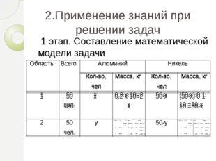 2.Применение знаний при решении задач 1 этап. Составление математической моде