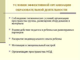 УСЛОВИЯ ЭФФЕКТИВНОЙ ОРГАНИЗАЦИИ ОБРАЗОВАТЕЛЬНОЙ ДЕЯТЕЛЬНОСТИ Соблюдение гигие