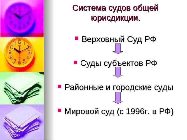 Система судов общей юрисдикции. Верховный Суд РФ Суды субъектов РФ Районные и...