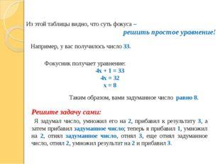 Из этой таблицы видно, что суть фокуса – решить простое уравнение! Например,