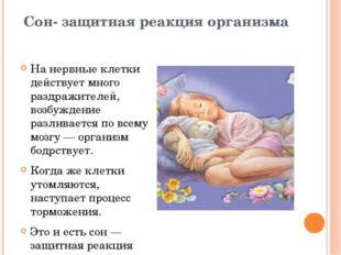 Сон- защитная реакция организма На нервные клетки действует много раздражител