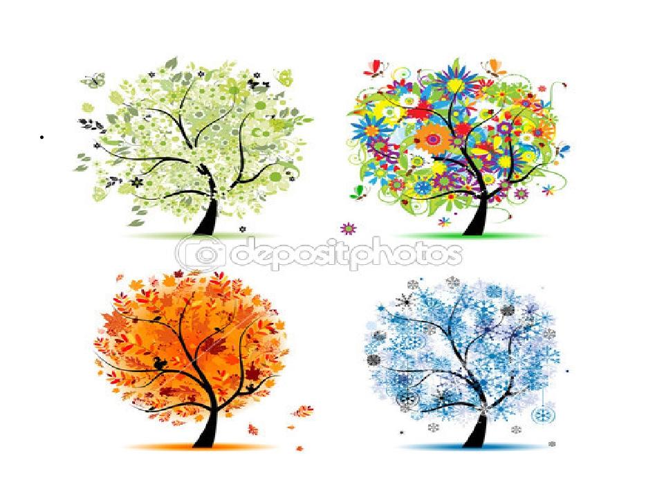 Дерево летом и зимой