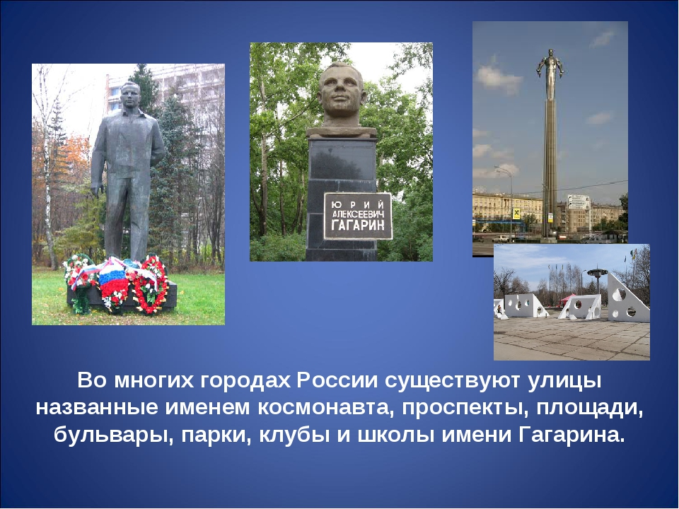Во многих городах России существуют улицы названные именем космонавта, проспе...