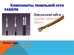 Компоненты локальной сети КАБЕЛИ Коаксиальный кабель – скорость передачи до 1