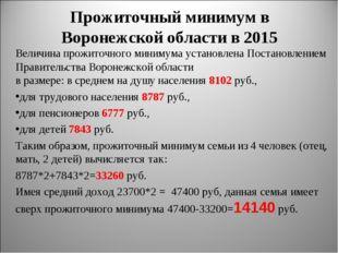Прожиточный минимум в Воронежской области в 2015 Величина прожиточного миниму