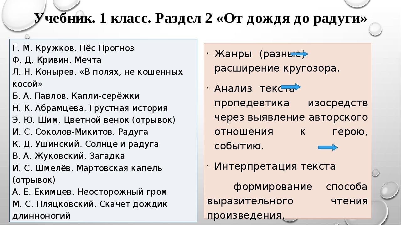 Учебник. 1 класс. Раздел 2 «От дождя до радуги» Г. М. Кружков. Пёс Прогноз Ф...