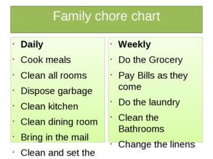 Family chore chart Daily Cook meals Clean all rooms Dispose garbage Clean kit