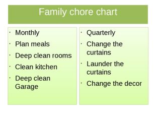 Family chore chart Monthly Plan meals Deep clean rooms Clean kitchen Deep cle