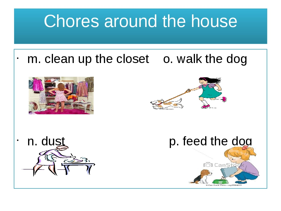 Chores around the house m. clean up the closet o. walk the dog n. dust p. fee...
