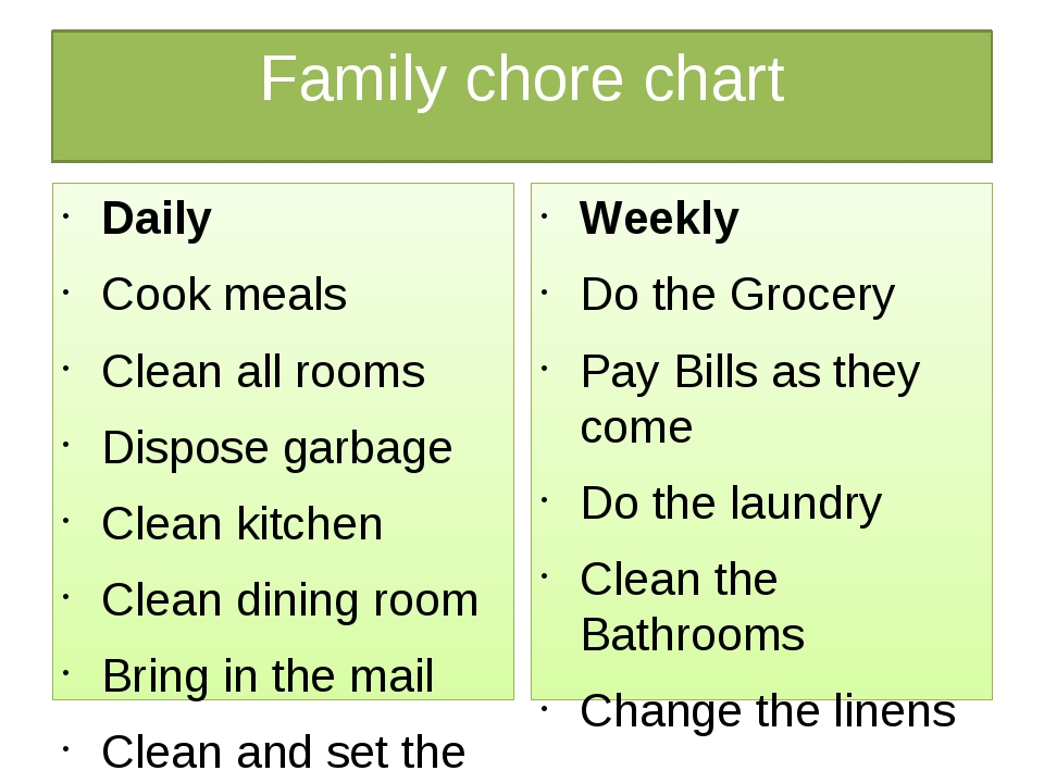 Family chore chart Daily Cook meals Clean all rooms Dispose garbage Clean kit...