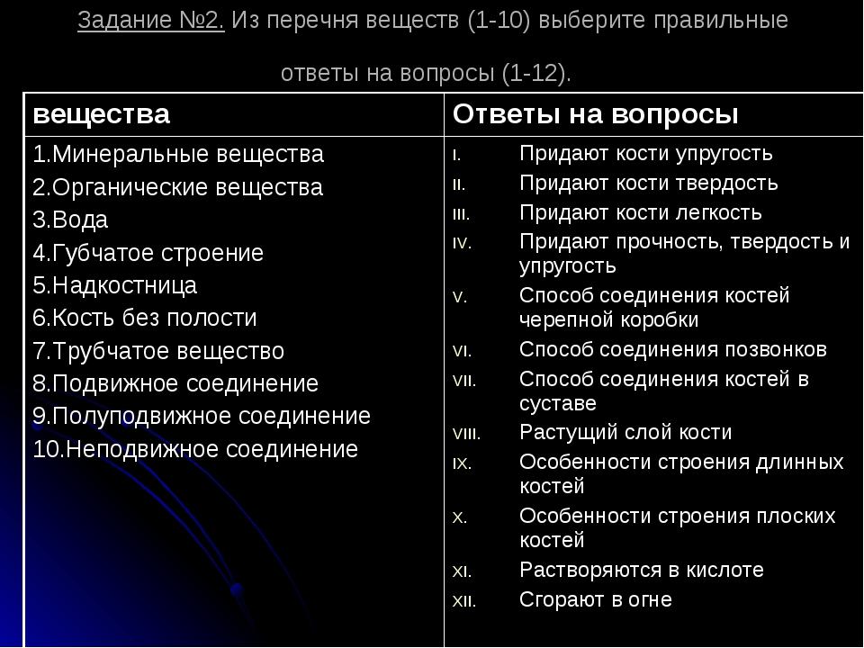 Задание №2. Из перечня веществ (1-10) выберите правильные ответы на вопросы (...