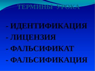 ТЕРМИНЫ УРОКА - ИДЕНТИФИКАЦИЯ - ЛИЦЕНЗИЯ - ФАЛЬСИФИКАТ - ФАЛЬСИФИКАЦИЯ