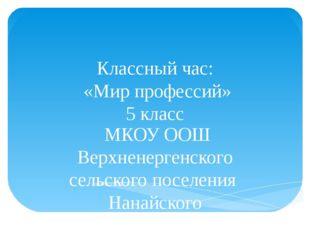 Классный час: «Мир профессий» 5 класс МКОУ ООШ Верхненергенского сельского по
