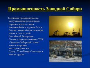 Промышленность Западной Сибири Топливная промышленность, заслуживающая разгов