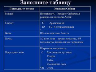 Заполните таблицу Природные условияЗападная Сибирь РельефНизменность – Запа
