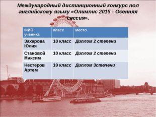 Международный дистанционный конкурс пол английскому языку «Олимпис 2015 - Осе