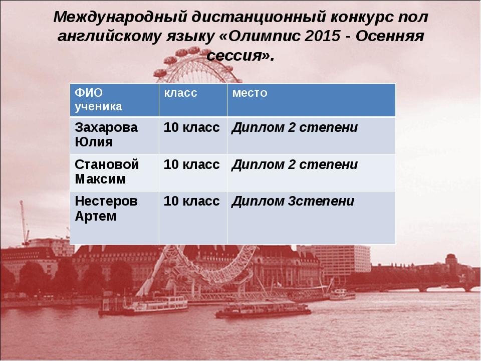 Международный дистанционный конкурс пол английскому языку «Олимпис 2015 - Осе...