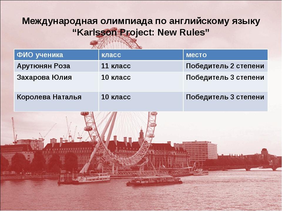 "Международная олимпиада по английскому языку ""Karlsson Project: New Rules"" ФИ..."