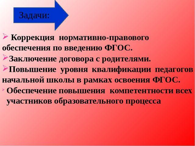 Задачи: Коррекция нормативно-правового обеспечения по введению ФГОС. Заключе...
