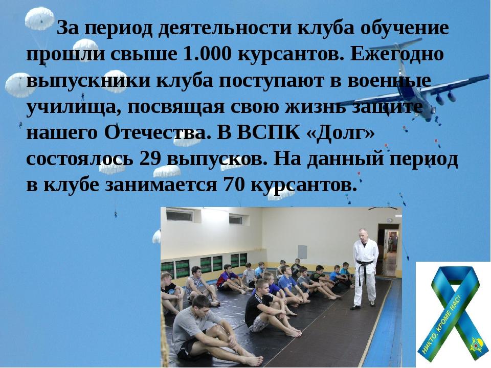 За период деятельности клуба обучение прошли свыше 1.000 курсантов. Ежегодно...