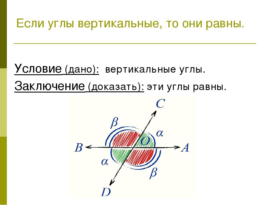 Условие (дано): вертикальные углы. Заключение (доказать): эти углы равны. Ес...