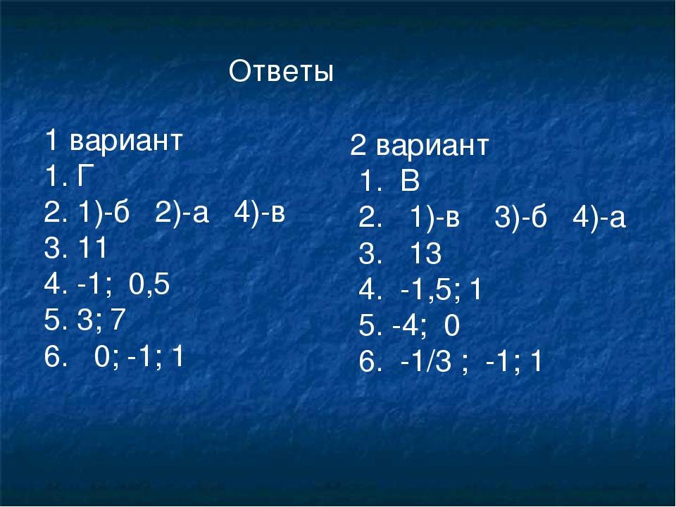 Ответы 1 вариант 1. Г 1)-б 2)-а 4)-в 11 -1; 0,5 3; 7 6. 0; -1; 1 2 вариант 1....