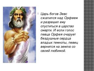 Царь богов Зевс сжалился над Орфеем и разрешил ему спуститься в царство смер