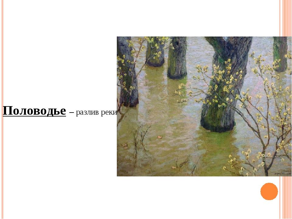 Половодье – разлив реки.