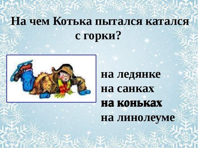 на ледянке на санках на коньках на линолеуме На чем Котька пытался катался с...